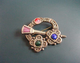 Vintage Celtic Scottish Colored Cabochon Stones Kilt Brooch Pin Signed Miracle