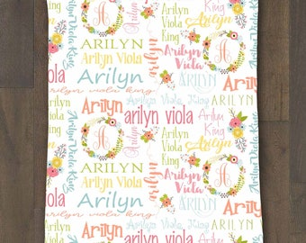 Baby name blanket etsy personalized baby name blanket floral wreath soft minky 30x40 baby girl blanket baby shower gift negle Images