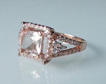 Rose Gold Morganite Ring- Morganite Engagement Ring- Halo Morganite Promise Ring- Morganite Cushion Ring- Pink Gemstone Ring