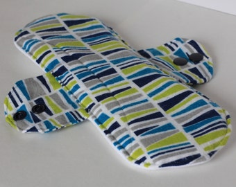"""Incontinence Pad Geo Marine in Navy, Turquoise, Chartreuse, Gray and White 12"""""""