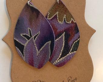 Purple floral patterned leather earrings