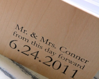 "Wood Guest book / Album / Notebook (9"" x 6"") - From this day forward - Custom Names and Date"