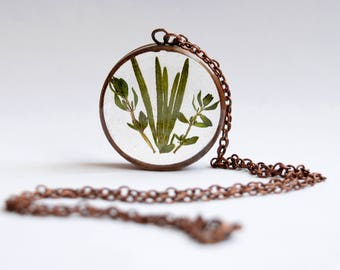 Rosemary & Thyme Copper Necklace Pendant - handmade copper jewellery, real plant necklace