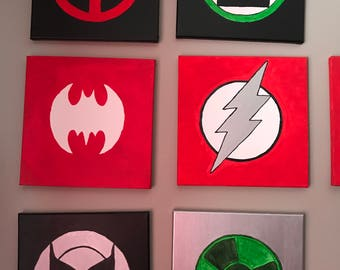 Set of 5 Superhero Wall Art, Hand painted