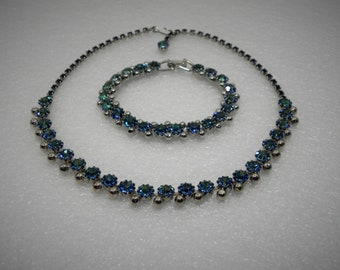 WEISS Demi Parure Choker and Bracelet set - Blue Green Aurora Borealis Rhinestones