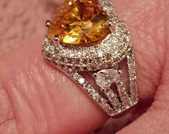 Yellow & White Topaz Gemstone Heart Shaped Heavily Silver Plated Ring, 5 ct. Size - 8