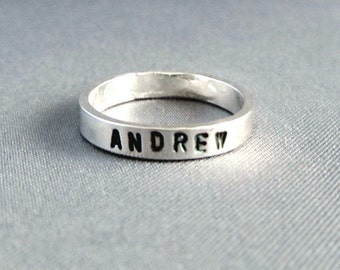 Stackable Name Rings,  custom ring, Sterling Silver Name Ring, custom stacking ring