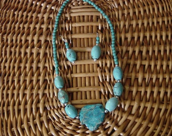 gemstone statement necklace and earring set