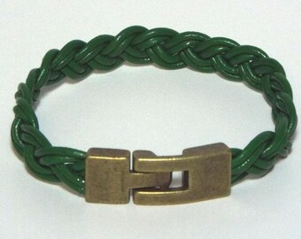 Green Braided Leather Wristband Bracelet