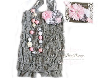 Cake Smash First Birthday Baby Girl Lace Grey Romper Headband Necklace SET, Pink and Gray Baby Headband, Baby Outfit, Baby Photo Prop