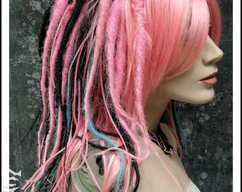 SALE Bubble Gum Queen Dread Wig pink rose blue black with Rexlace Dreads Dreadlocks Twists twisted goth gothic cyber pastel pastell soft emo