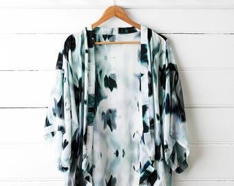 Printed Silk Kimono Top - Blur