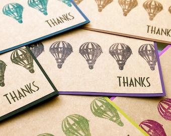 Thank You Notecards, Hot Air Balloon Thank You Cards, Thank You Notes, thank you cards set, Steampunk Thank You, Balloon Thank You, handmade