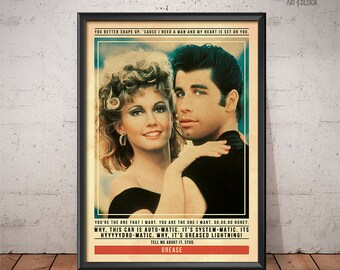 Grease Poster - Quote Retro Movie Poster - Movie Print, Film Poster, Wall Art