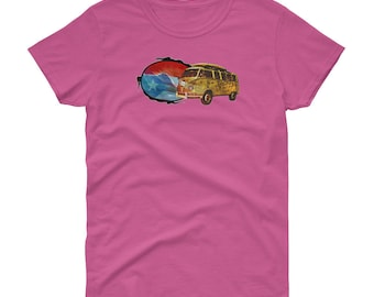 Puerto Rico T-shirt women flag and surf bus with wave