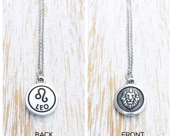 Leo Necklace, Zodiac Necklace, Leo Zodiac, Leo Gift, Zodiac Jewelry, Silver Necklace, Gift for Her, Birthday Gift, Astrology Gift, Birthday