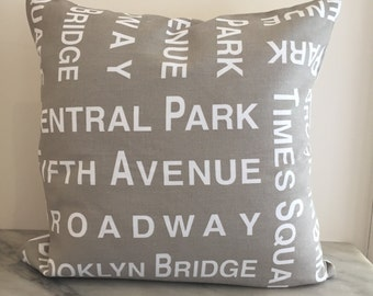 Taupe New York Canvas Cushion Pillow Cover