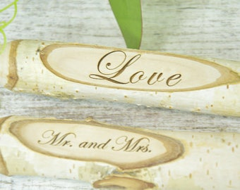 Personalized Wedding Guest Book Pen - Rustic Wedding - Shabby Chic Wedding - Birch Pen - Wedding Pens  - Wedding Sharpies