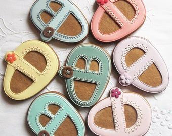 Baby Mary Jane Shoe Biscuit Cookie 10 Baby Shower Biscuit - baby bootie cookies -baby cookies