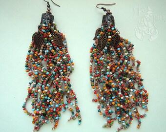 Boho tassel earrings Beaded tassel earrings Boho earrings Multicolor earrings  Statement earrings Gypsy earrings Tribal earrings Hippie
