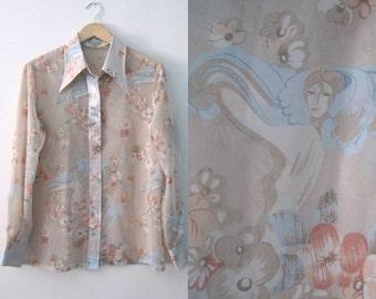Vintage 70s sheer blouse / Victorian woman floral print / Art Nouveau Hippie Bohemian sheer blouse