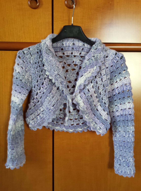 Pullover Mädchen melange weiß / lila arbeitete Kreis