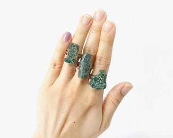 ON SALE / Raw Stone Rings, Forest Green Aqua Terra Jasper Ring, Jewelry Gift For Best Friends