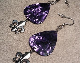 Fleur De Lis Dangle on Purple Pearl Genuine Guitar Pick Earrings
