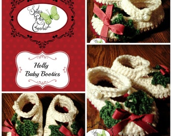 Christmas Holly Baby Booties - Newborn - 0-3 months, 12 months