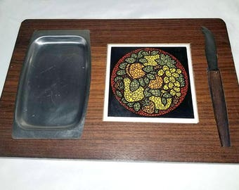 Mid Century Cheese Board,Brie Board,Cheese and Cracker Tray,Party Tray,Cheese Platter,Dip,Knife,Cheese Board,Wood,Wine,Cheese,Tile,1960s