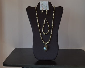 Champagne Freshwater Pearl, Sterling Silver Necklace, Bracelet and Earring Set G102