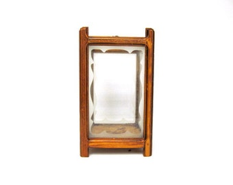 Terrarium, Wood Frame and Frosted Edge Panels, Vintage Handmade 1970s,