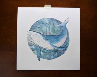 Whale in the Waves Watercolor Print