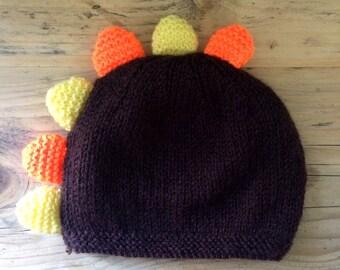 Dinosaur handknit baby hat