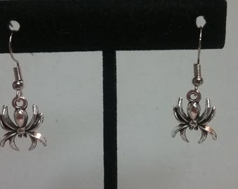 Spider Dangle Silver Earrings Spider Accessory