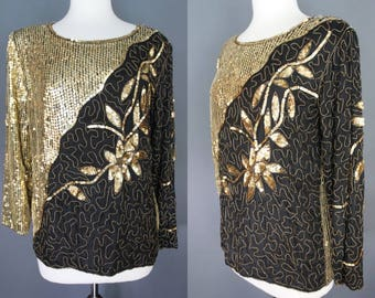 80's Sequined Top     80's Black And Gold Beaded And Sequined Silk Evening Top