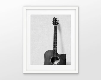 Acoustic Guitar Print - Black And White Grayscale Printable Art - Modern White Linen Effect Photo Collage - INSTANT DOWNLOAD #2376