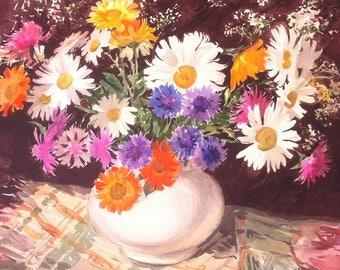 Summer Flowers Still life Daisy Bouquet Painting Wildflowers Mixed Media Gerbera Daisy Still life Painting Camomile Summer Flowers Gouache