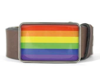 Belt Buckle, Rainbow flag belt buckle, Resin belt buckle, gift for him, men's belt buckle, belt buckle for men, cool belt buckle
