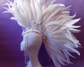"Headdress ""White Mohawk Glamor"""