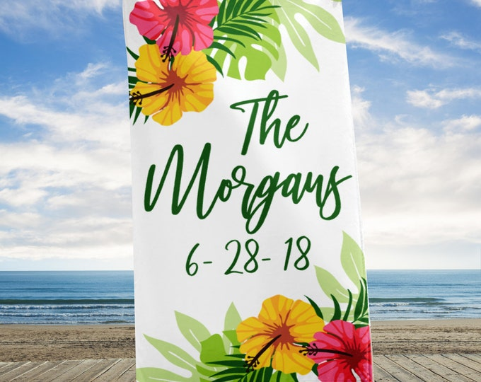 Custom Wedding Beach Towel, Personalized Beach Towel, Floral Beach Towel, Tropical Towel, Elegant HUGE Beach Towel, wedding towel