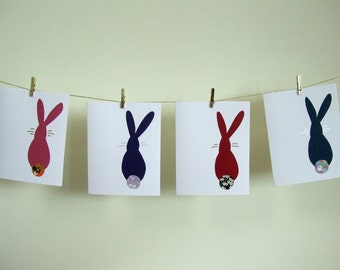 Japanese rabbit notecards - set of 4 blank note cards - gift for rabbit lover