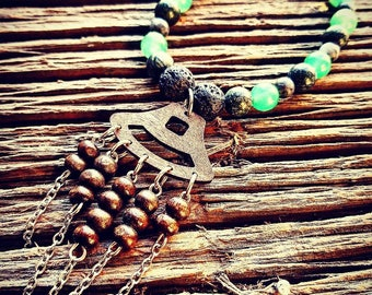 Wooden Charm, Healing, Handmade, Beaded Bracelet, Lava Stones, Aromatherapy, Stretchy Wire, Unique, One Of A Kind, Blue Beads, Beads, Oils