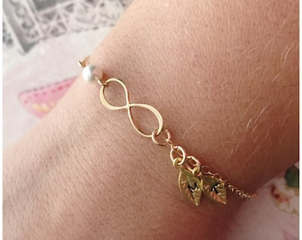 Gold Initial Infinity Bracelet - Gold Filled Leaf Infinity Bracelet - Personalized Hand Stamped Initial on Leaf - Gold Filled Dainty Jewelry