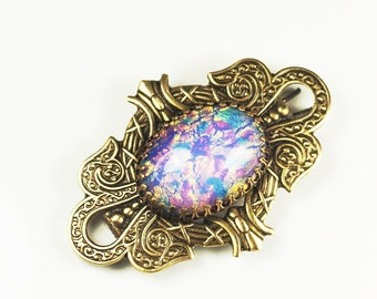 Victorian opal barrette hair clip filigree brass vintage glass bridal wedding hair jewelry