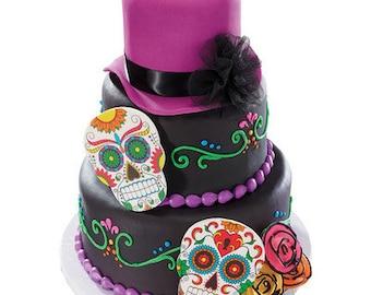 Dia De Los Muertos Skull Gum Paste Ornament - Cake Topper - 1 Skull