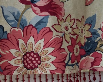 Kitchen valance in Waverly's Graceful Garden with cranberry beaded trim