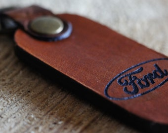 FORD Genuine Brown Leather Key Chain Key Ring New / Handmade