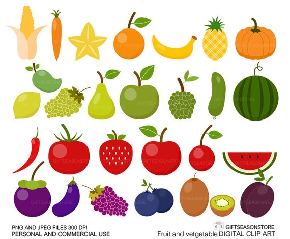 fruit and vegetable clip art for personal and commercial use rh etsy com free clipart fruit and veg fruit and vegetable basket clipart