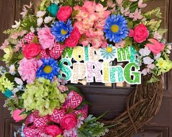 Large Etsy Spring Wreath   Spring Flowers   Grapevine Wreath   Door Wreath   Wreaths on Etsy